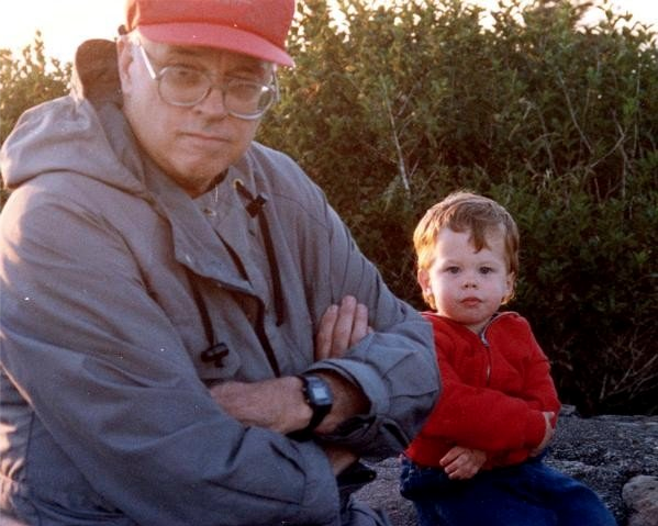 "My grandpa ""Mac"" and me, Oregon coast, 1991."