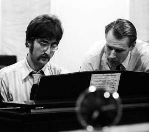 John Lennon with Beatles producer, George Martin